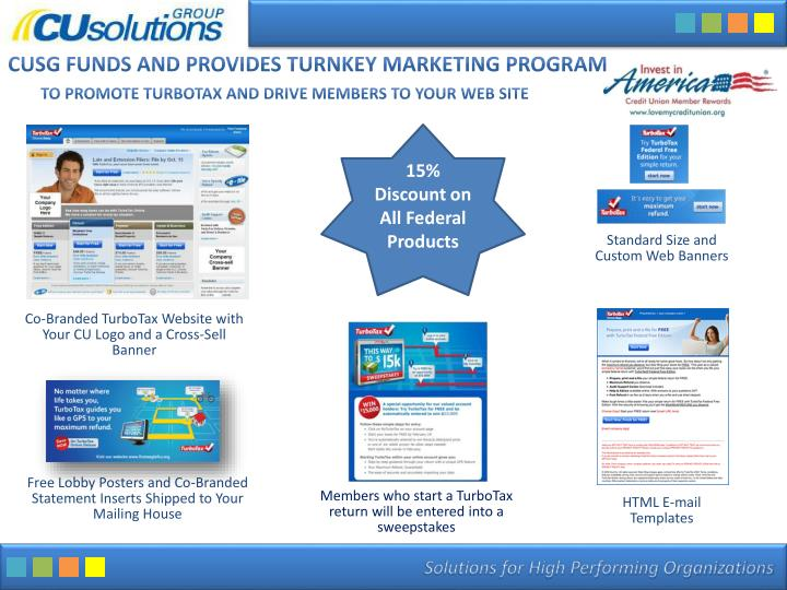 Cusg funds and provides turnkey marketing