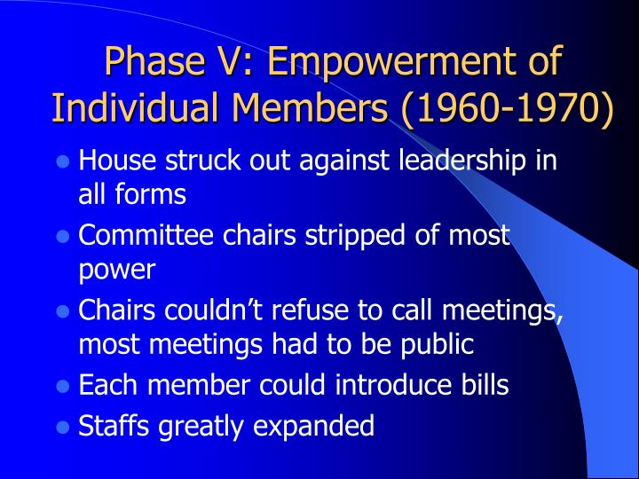 Phase V: Empowerment of Individual Members (1960-1970)