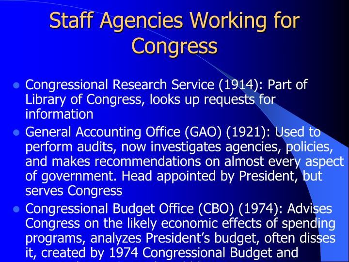 Staff Agencies Working for Congress