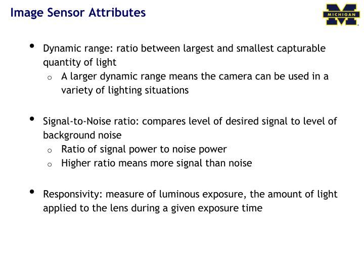 Image Sensor Attributes
