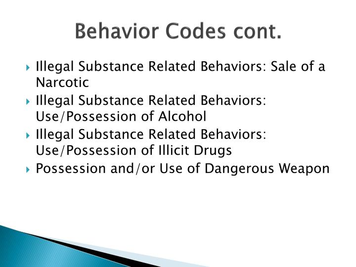Behavior Codes cont.