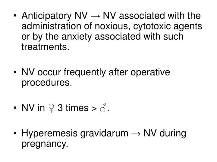 Anticipatory NV → NV associated with the administration of noxious, cytotoxic agents or by the anxiety associated with such treatments.