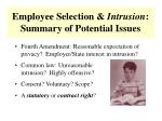 employee selection intrusion summary of potential issues