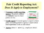 fair credit reporting act does it apply to employment