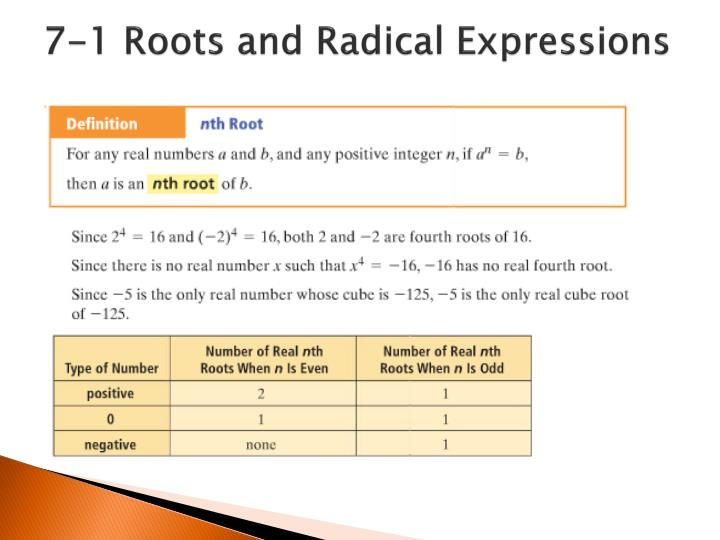 7-1 Roots and Radical Expressions