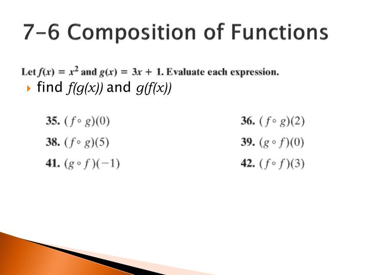 7-6 Composition of Functions