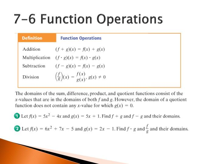 7-6 Function Operations