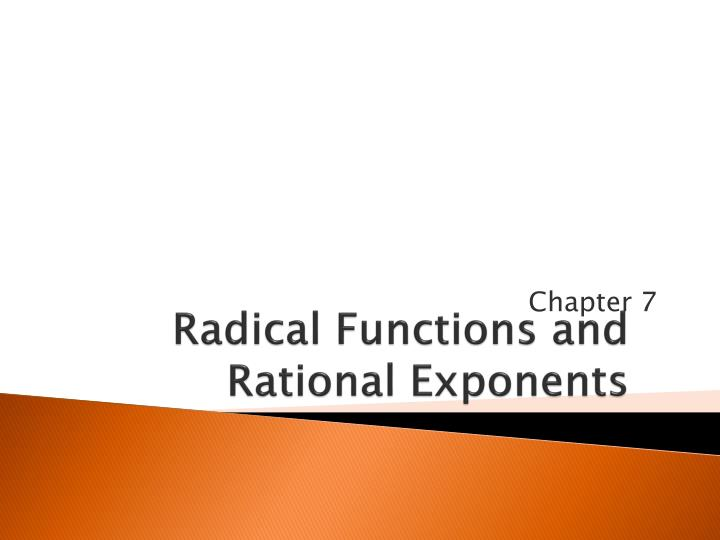 Radical functions and rational exponents