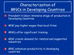 characterization of mncs in developing countries