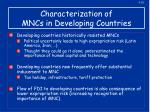 characterization of mncs in developing countries1