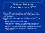 firm and industry characteristics of fdi