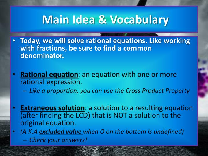 Main idea vocabulary