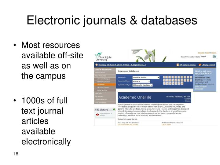 Electronic journals & databases