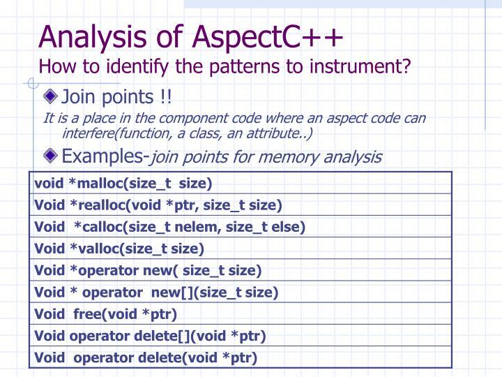 Analysis of AspectC++