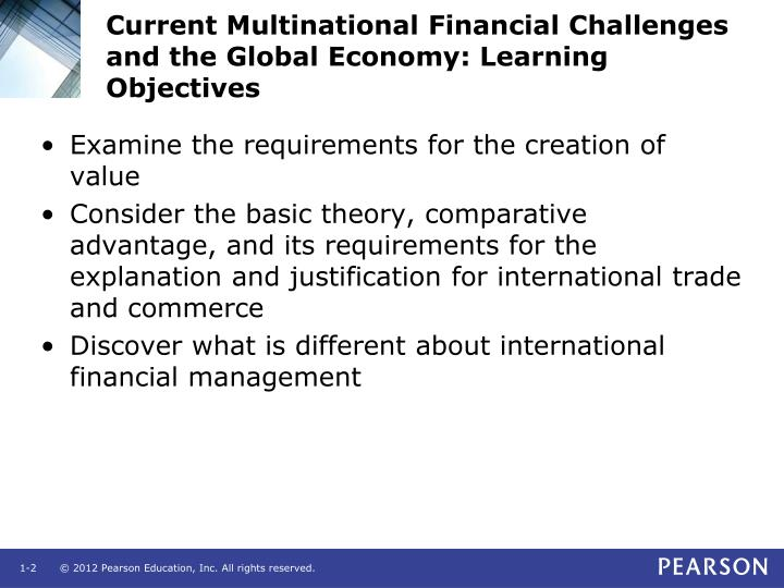 Current multinational financial challenges and the global economy learning objectives