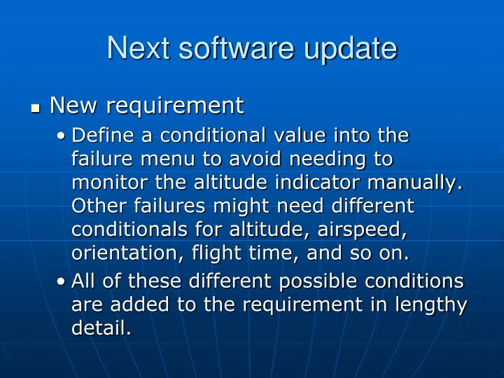 Next software update