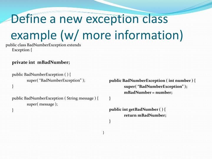 public class BadNumberException extends Exception {