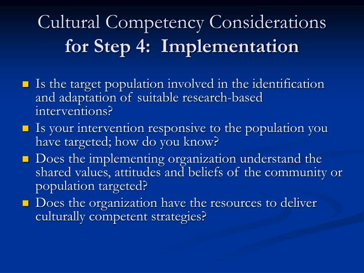 Cultural Competency Considerations