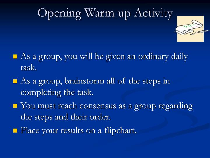 Opening Warm up Activity