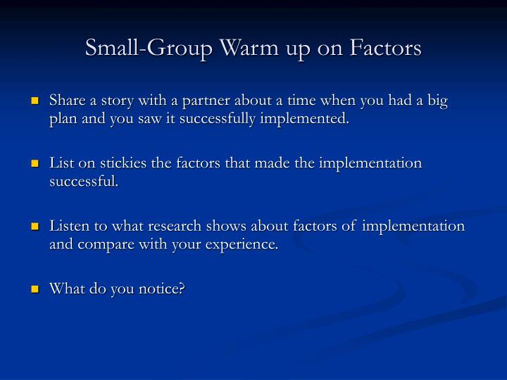 Small-Group Warm up on Factors