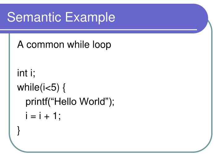 Semantic Example
