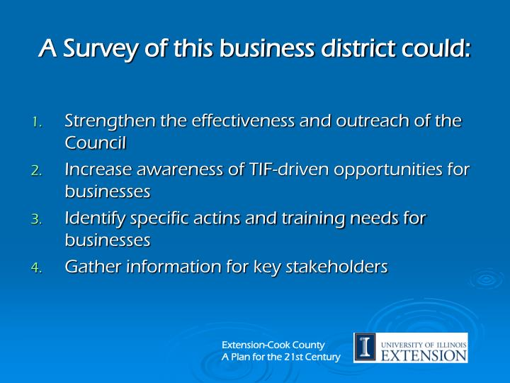 A Survey of this business district could: