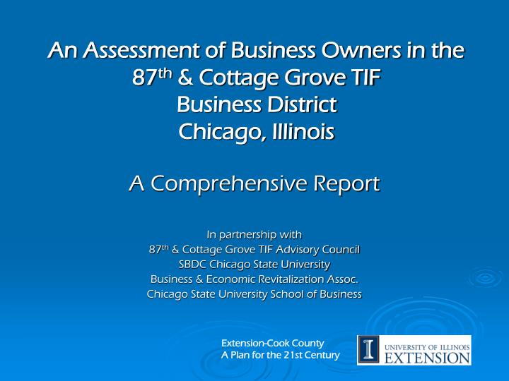 An assessment of business owners in the 87 th cottage grove tif business district chicago illinois