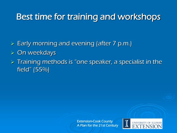 Best time for training and workshops