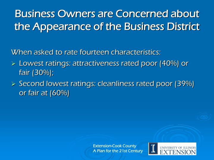 Business Owners are Concerned about the Appearance of the Business District