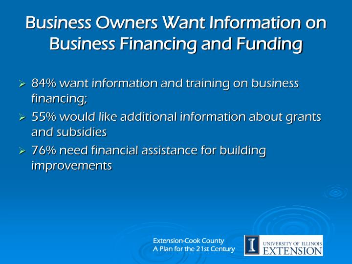 Business Owners Want Information on Business Financing and Funding