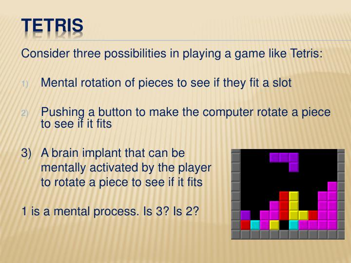 Consider three possibilities in playing a game like Tetris:
