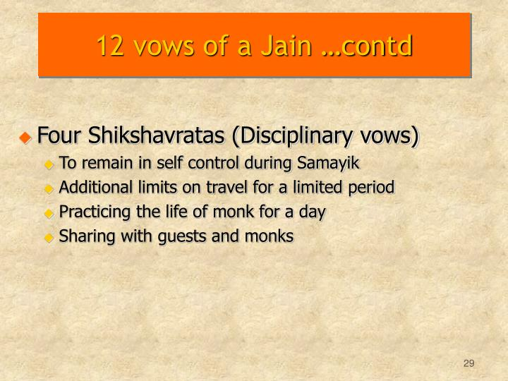 12 vows of a Jain …contd