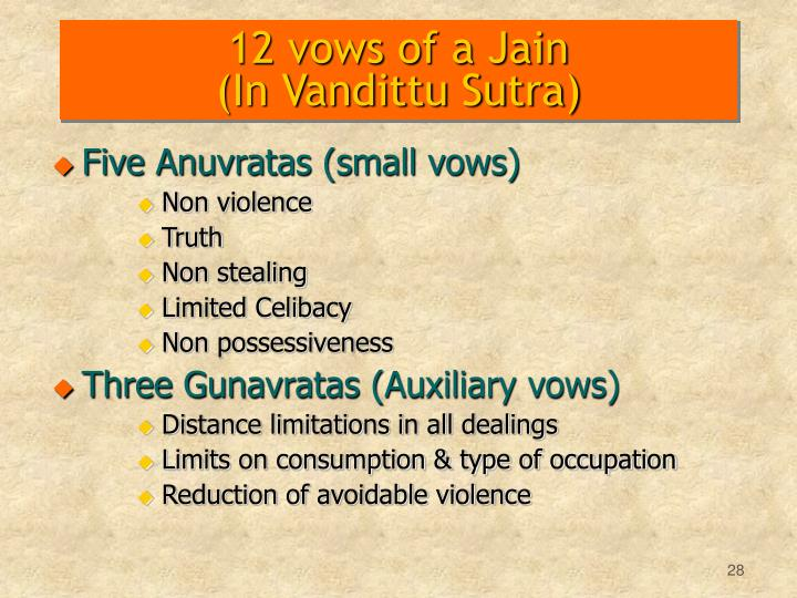 12 vows of a Jain