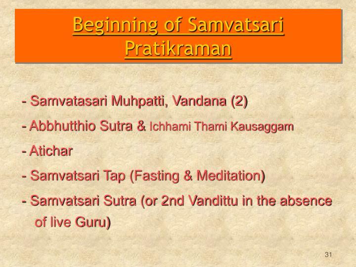 Beginning of Samvatsari Pratikraman