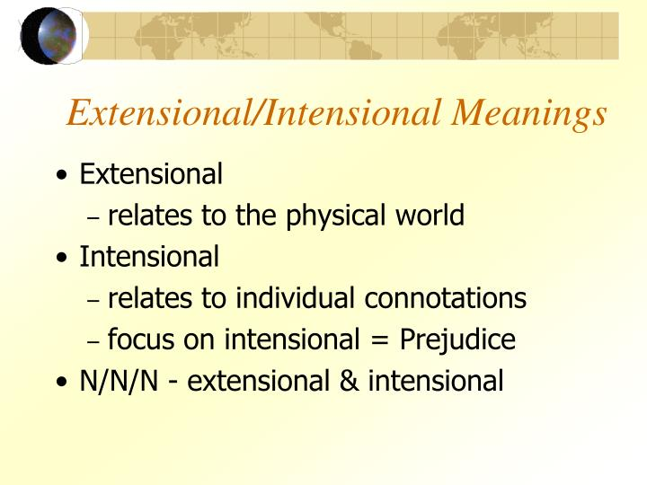 Extensional/Intensional Meanings
