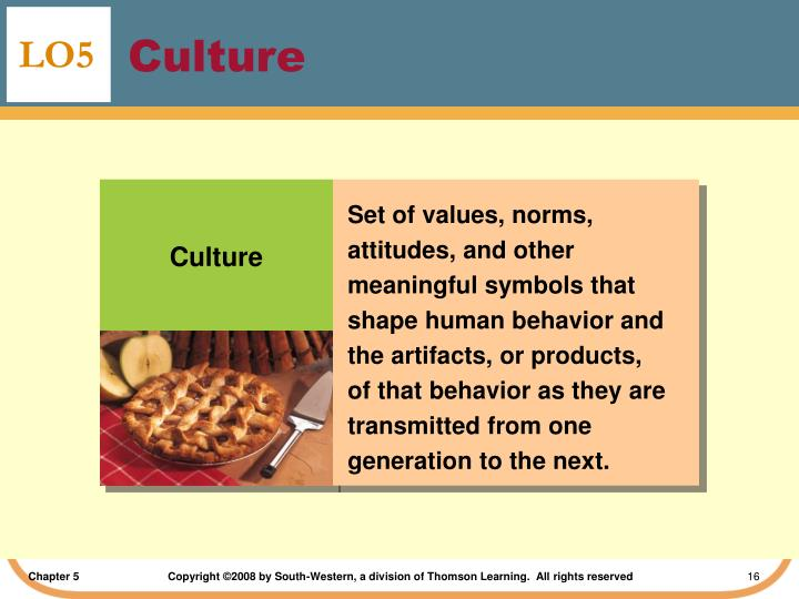 Set of values, norms, attitudes, and other meaningful symbols that shape human behavior and the artifacts, or products, of that behavior as they are transmitted from one generation to the next.