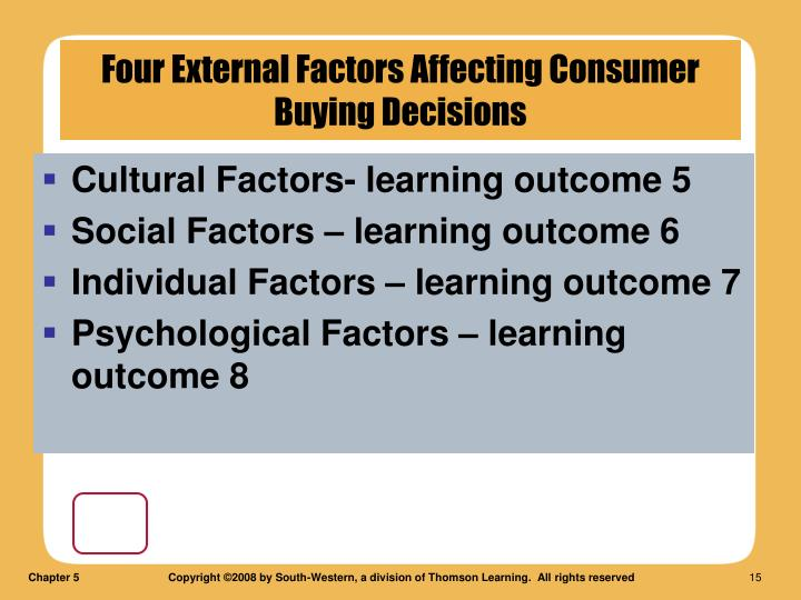 Cultural Factors- learning outcome 5