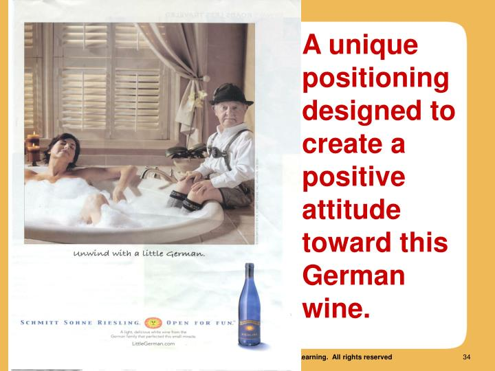 A unique positioning  designed to create a positive attitude toward this German wine.