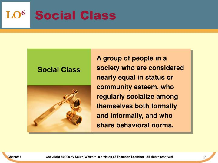 A group of people in a society who are considered nearly equal in status or community esteem, who regularly socialize among themselves both formally and informally, and who share behavioral norms.