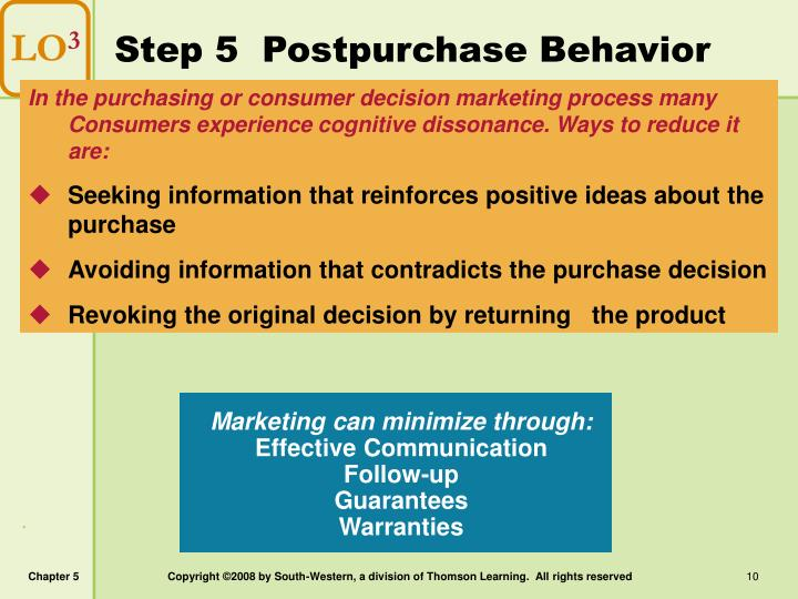 Step 5  Postpurchase Behavior