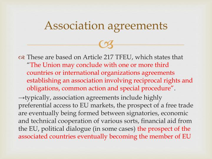 Association agreements