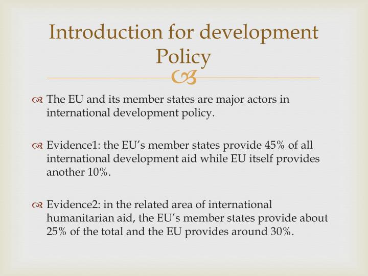 Introduction for development Policy