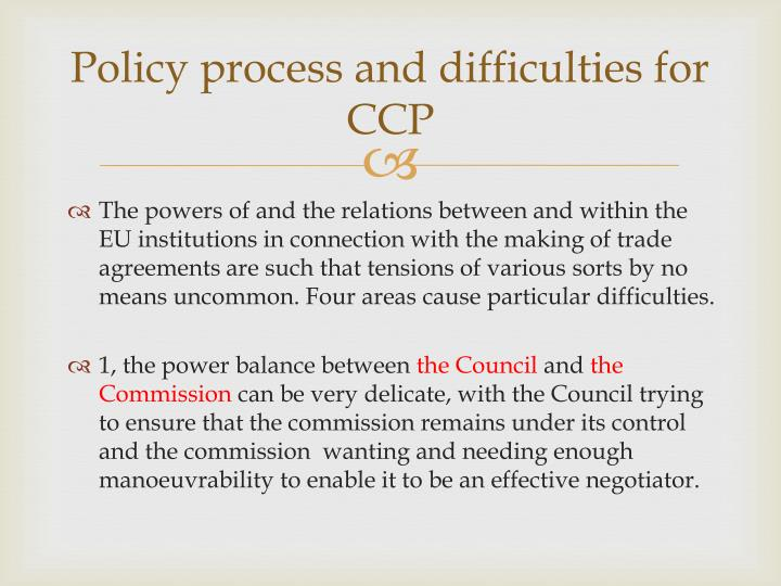 Policy process and difficulties for CCP