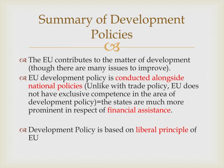 Summary of Development Policies
