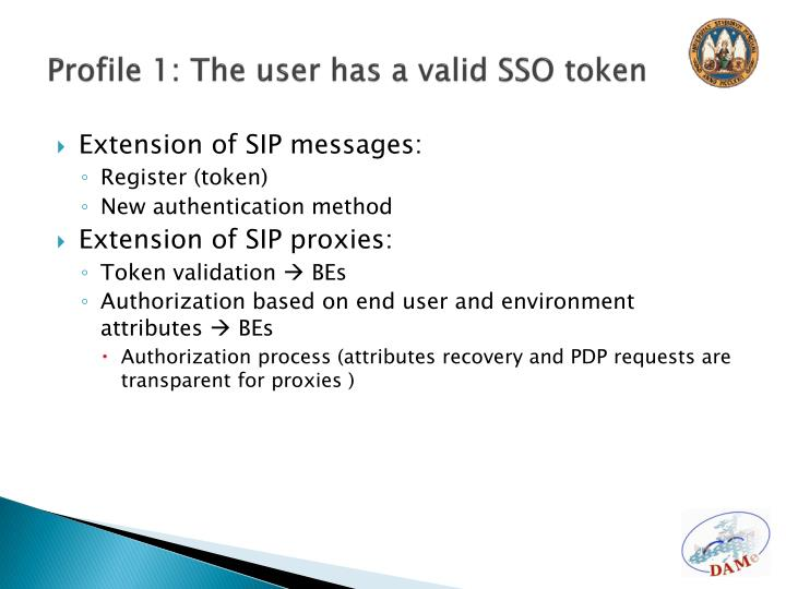 Profile 1: The user has a valid SSO token