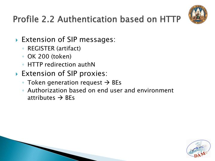 Profile 2.2 Authentication based on HTTP