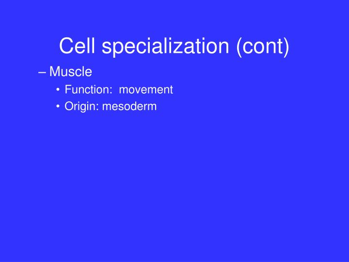 Cell specialization (cont)