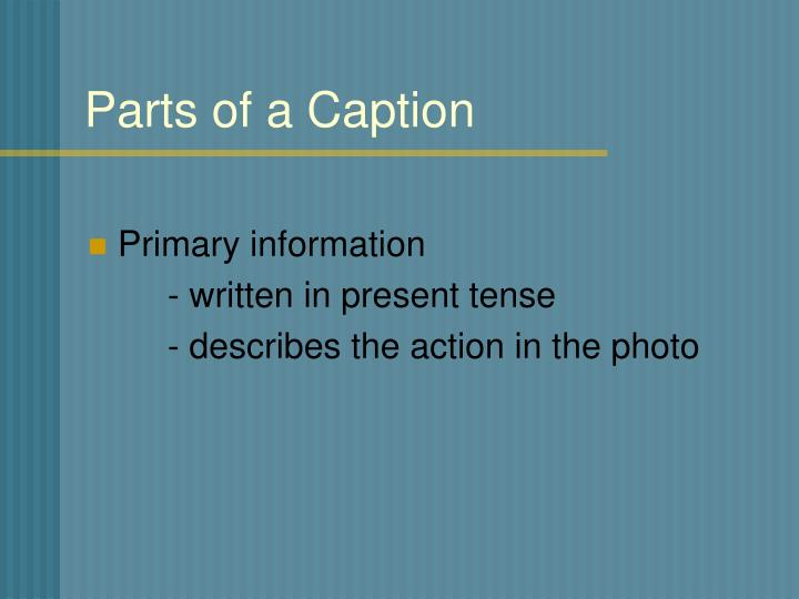 Parts of a Caption