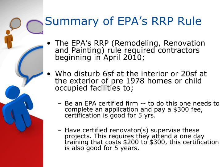 Summary of EPA's RRP Rule