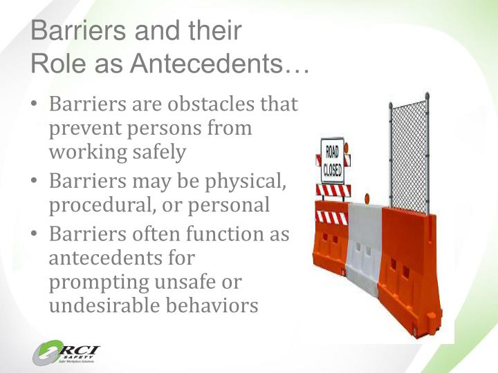 Barriers and their                        Role as Antecedents…